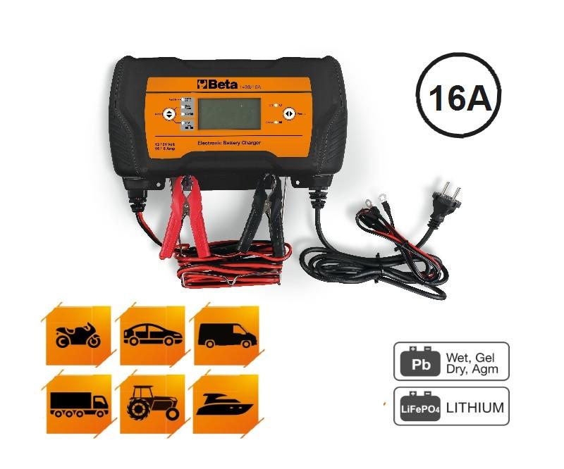 Beta BETA 1498/16A Többfunkciós elektronikus akkumulátortöltő, 12-24V