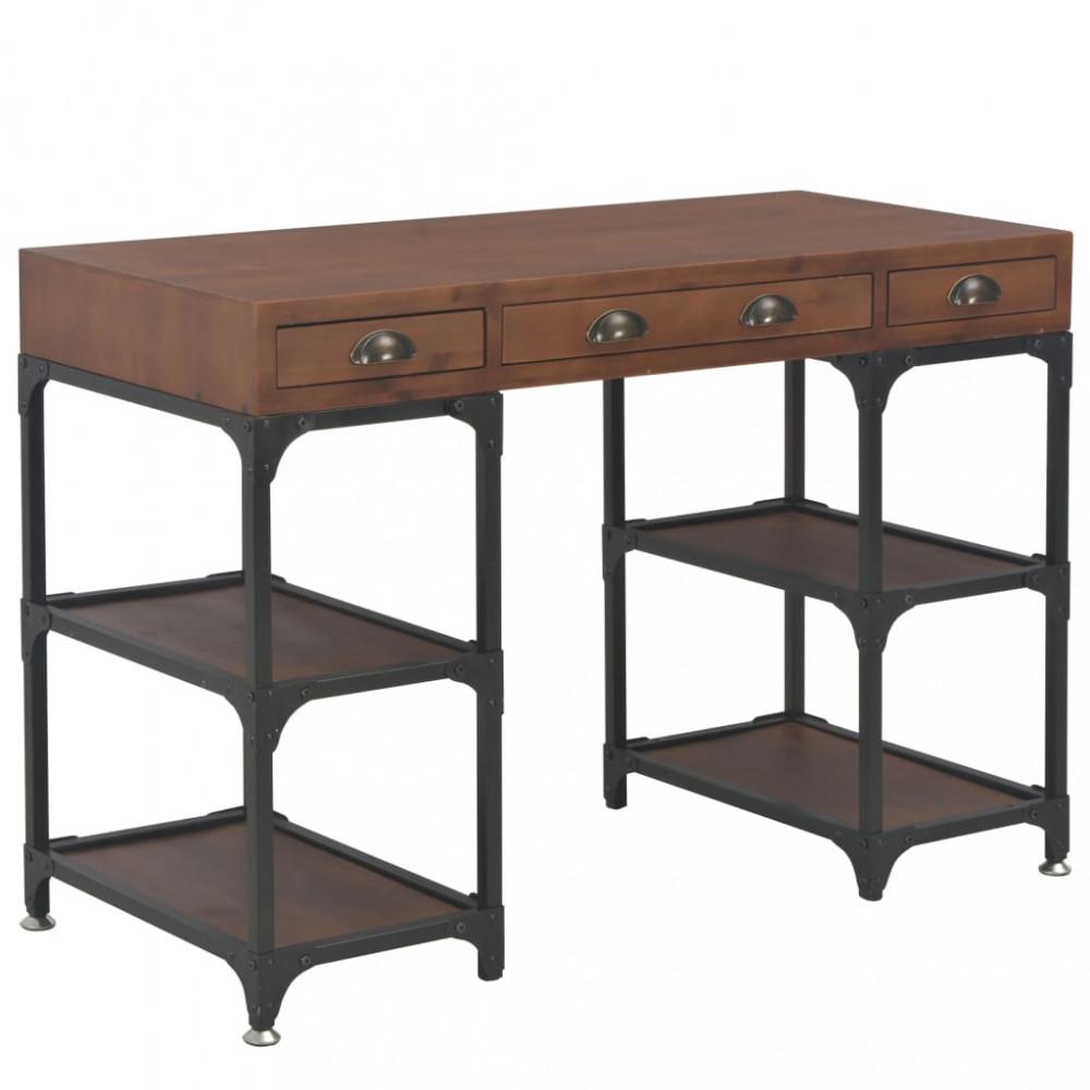 Háromfiókos tömör fenyőfa íróasztal 110x50x78 cm